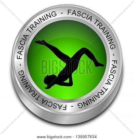green Fascia Training button - 3D illustration