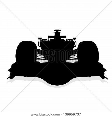 Formula car, isolated vector silhouette, front view