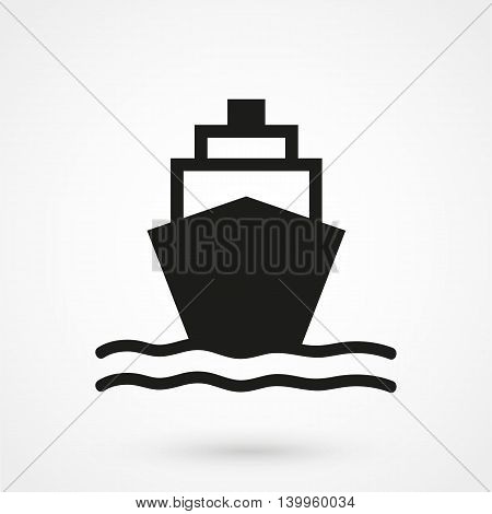 Ship Icon On A White Background. Simple Vector Illustration