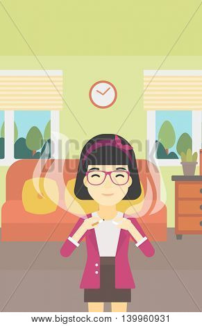 An asian woman breaking the cigarette. Woman crushing cigarette. Woman holding broken cigarette on the background of living room. Quit smoking concept. Vector flat design illustration. Vertical layout