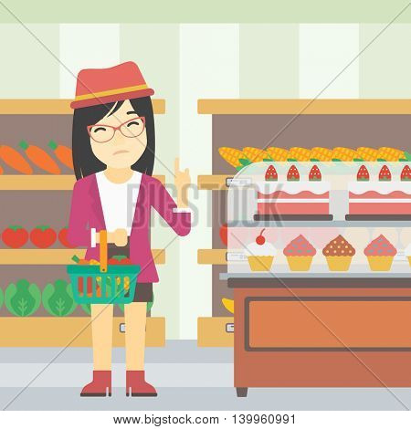 An asian young woman holding basket with healthy food and refusing junk food. Woman choosing healthy food and rejecting junk food in supermarket. Vector flat design illustration. Square layout.
