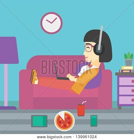 An asian woman relaxing on a sofa with many gadgets. Woman lying on sofa surrounded by gadgets and fast food. Woman using gadgets at home. Vector flat design illustration. Square layout.