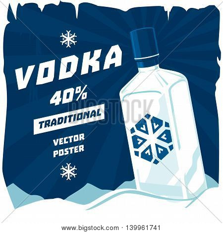 Cold or frozen glassware bottle of vodka with snowflake on sticker. High spirit containing drink bathtub gin beverage or booze. May be used for advertising at bar or restaurant