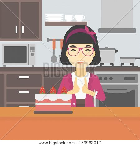 An asian happy woman looking with passion at a big cake. An excited woman standing in front of cake in the kitchen. Woman craving delicious cake. Vector flat design illustration. Square layout.