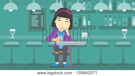 An asian sad woman sitting at the bar with glass of alcoholic beverage. Young woman sitting alone at the bar and drinking alcohol. Vector flat design illustration. Horizontal layout.