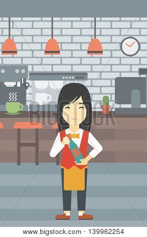 An asian young waitress holding a bottle in hands on the background of a cafe. Vector flat design illustration. Vertical layout.