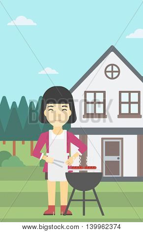An asian woman cooking meat on the barbecue grill in the backyard. Woman preparing food on barbecue grill. Woman having outdoor barbecue. Vector flat design illustration. Vertical layout.