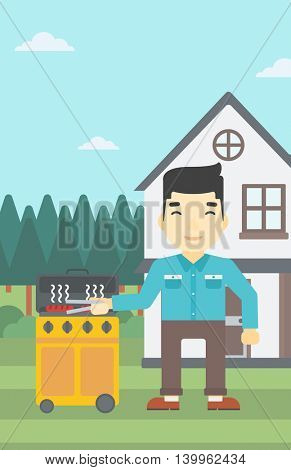 An asian man cooking meat on gas barbecue grill in the backyard. Man preparing food on barbecue grill. Man having outdoor barbecue. Vector flat design illustration. Vertical layout.