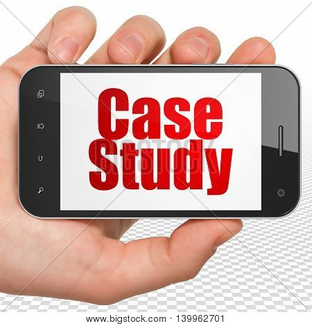 Studying concept: Hand Holding Smartphone with red text Case Study on display, 3D rendering