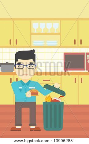 An asian man putting junk food into trash bin. Man refusing to eat junk food. Man throwing junk food on the background of kitchen. Diet concept. Vector flat design illustration. Vertical layout.