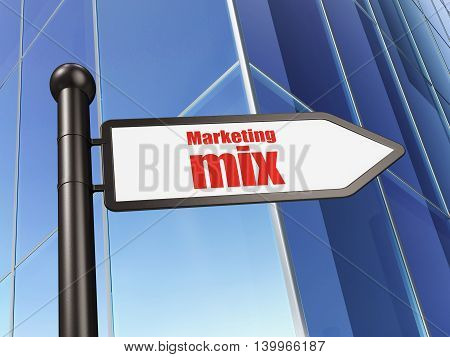 Marketing concept: sign Marketing Mix on Building background, 3D rendering