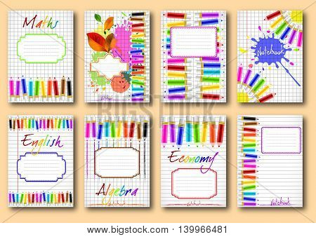 Set of school notebook covers with colorful pencils and label for signing on page of copybook in cage and lines. Back to school. Vector illustration
