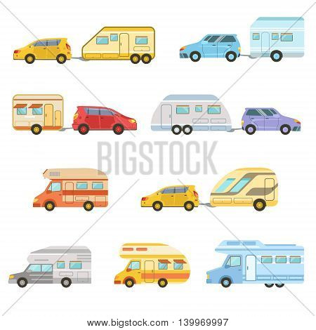 Colorful Rv Minivan With Trailer Set Of Icons. Family Motorhome Flat Colorful Car Set. Microbus For Family Vacation Set Of Isolated Illustrations.