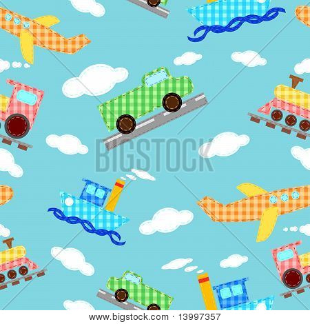 Seamless pattern funny images of four types of transport