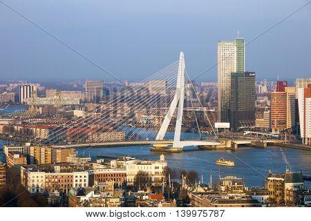 ROTTERDAM NETHERLANDS - MAR 16 2016: View on the Erasmus bridge and the city centre of Rotterdam