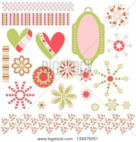 Collection with tag hearts flowers and trims