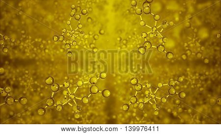 3d rendering molecular structure. Molecules or network from glass and crystal. Abstract molecules in bright lit environment. Structural background. Molecular grid. Depth of field.