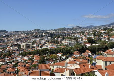 View over the rooftops of Funchal in Madeira Portugal