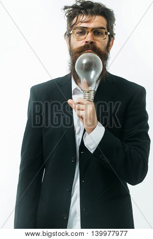 young handsome bearded man scientist or professor in glasses with long beard holding lamp isolated on white background einstein formula poster