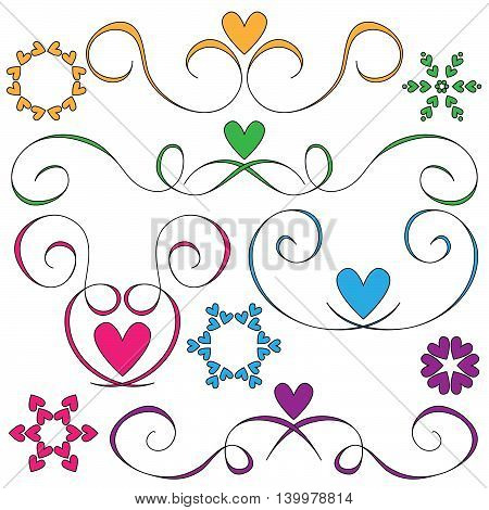curls and hearts ornaments over white background