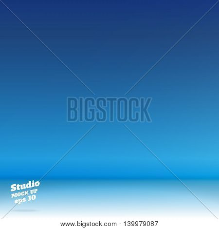 Vector,empty White Floor Gradient To Vivid Blue Studio Room Background ,template Mock Up For Display