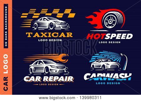 Collection of logos car, taxi service, wash, repair, Competitions On dark background