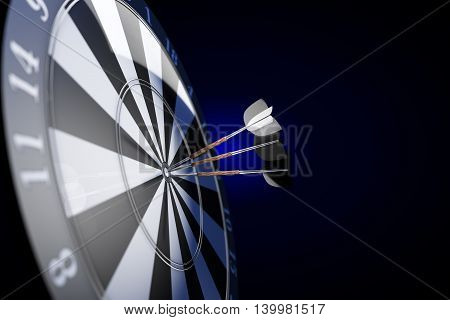 Darts. Three darts with white plumage in the center of the target on a dark blue background. 3d illustration