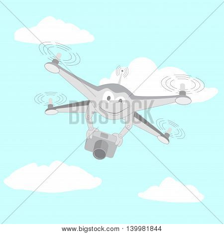 Drone filmed by the camera. Series cartoon Drones