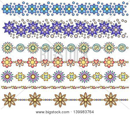 Colorful floral trim or border collection over white