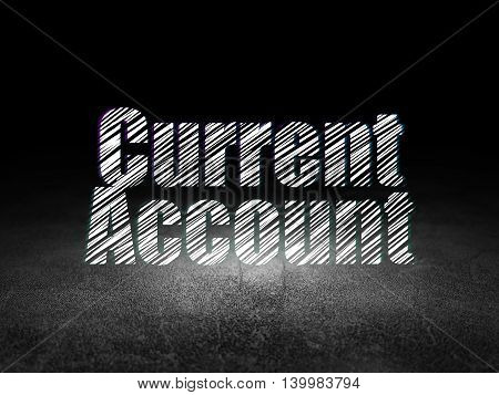 Money concept: Glowing text Current Account in grunge dark room with Dirty Floor, black background