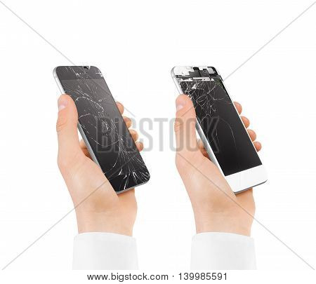 Set of hands holding broken phones with smashed touch screen. Arm hold cracked smartphone, isolated. Smart mobile cellphone display scratch. Telephone monitor problems, need repair.