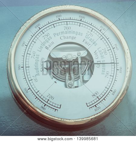 Retro Barometer Close Up