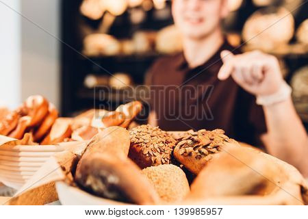 Breadbasket with different varieties of bread rolls
