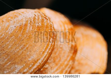 Bread assortment with wheat ears on a wooden table