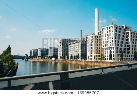 Modern buildings along the river Main in Frankfurt Germany