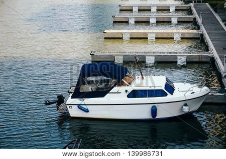 Closeup of luxurious sailing boat anchored in Main's shore Germany