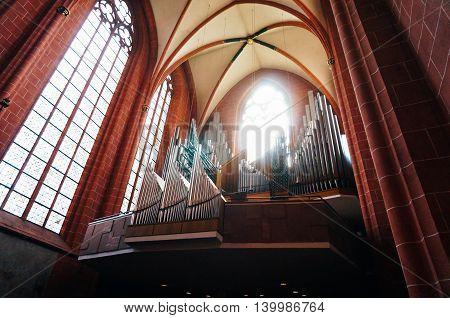Frankfurt Germany - 22nd August 2015: The huge organ inside of Cathedral of Saint Bartholomew.