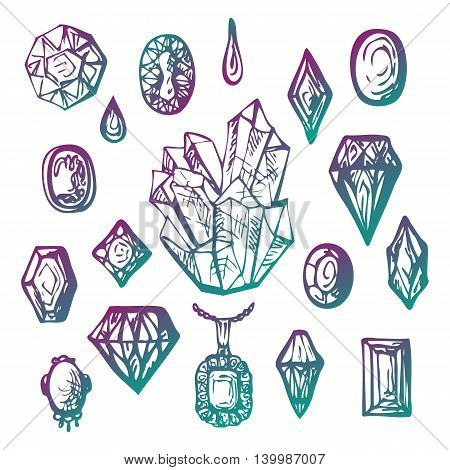 Crystal and diamond collection. Jewelry hand drawn set. Diamond cutting samples. Big druse sample. Abstract doodle gems. Vector illustration.