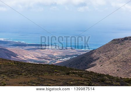 Aerial view of volcanic island Lanzarote Spain