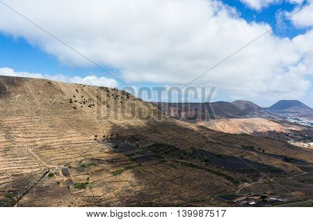 Wild volcanic landscape at Lanzarote Island Canary