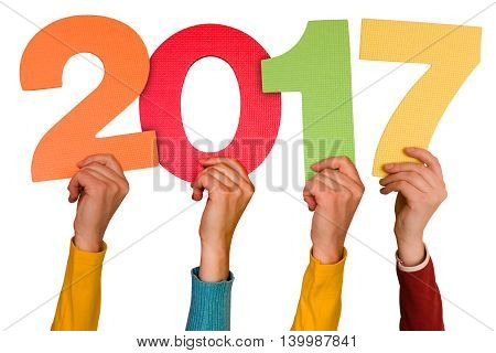Hands with color numbers shows year 2017. Isolated on white background