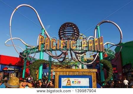 Los Angeles CA USA - July 6 2013: Pacific Park's main entrance on Santa Monica peer.