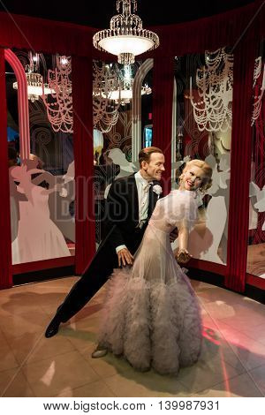 Los Angeles CA USA - July 6 2013: Madame Tussaud's Hollywood figures - Fred Astaire and Ginger Rogers