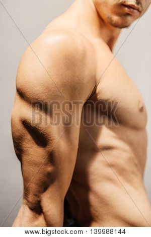 Closeup of a well defined man's triceps