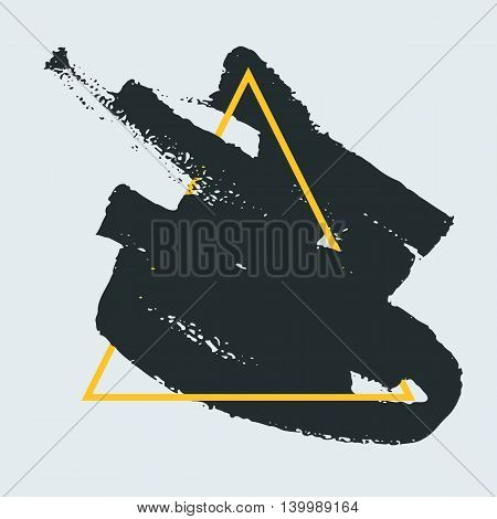Abstract handdrawn background. Hand painted ink black smear with rough edges and yellow thin triangle frame isolated on white backdrop. Empty template - Trendy Vector illustration