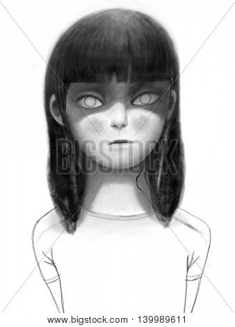 Creepy girl - a hand drawn portrait of a brunette teenage girl with light eyes looking straight ahead