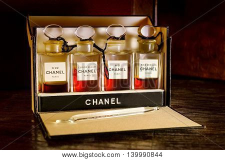 SAINT PETERSBURG. RUSSIA - JULE 14 2016. Set of old Chanel perfumes - first half of XX century.