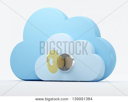 Cloud storage security. 3d illustration. Cloud with a lock and key.