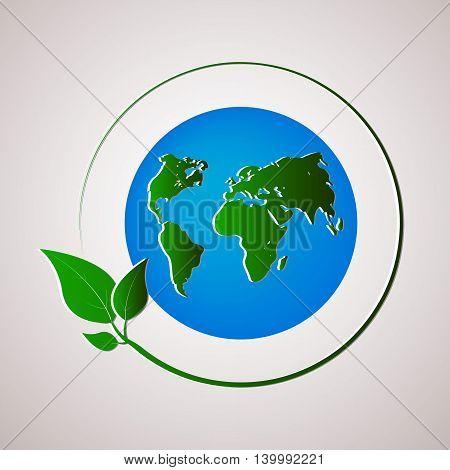 Green planet vector illustration. Ecology concept. Vector illustration