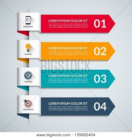 Infographic template with 4 arrows, options, steps. Vector banner with business icons and design elements. Can be used for workflow layout, diagram, chart, number options, report, web design